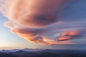 Sunset, Spectacular, Volcano, Oregon, Cascades