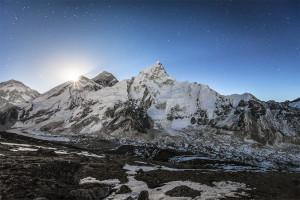 Everest, Mt. Everest, Kala Pattar, Moonrise, Himalaya, Nepal
