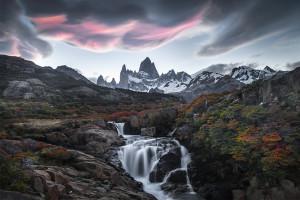 Fitz Roy, Patagonia, El Chalten, Kingdom, Royalty, Sunset, Waterfall