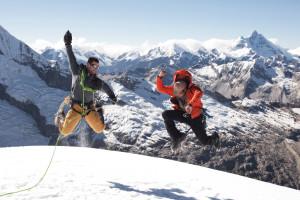 Mountaineering, Climbers, Mountain Climbers, Peru, Vallunaraju, Joy, Jumping for Joy