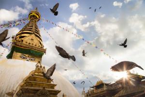 Birds flutter as the sun sets on Swayambhunath, Nepal