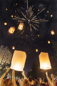 Party-goers light sky lanterns in Chang Mai, Thailand to celebrate New Years