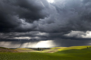 A storm approaches the rolling hills of the Palouse Region, Washington