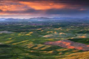 A sunset over the Palouse Region, Washington