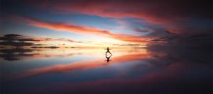 Yoga, Peaceful, Harmony, Sunset, Mirror Image, Salar de Uyuni