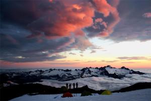 Mountaineering, Teamwork, Team, Mt. Baker, Sunset, Enjoyment, Puget Sound, Washington