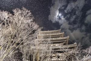 A nighttime snowstorm hits Kyoto, Japan